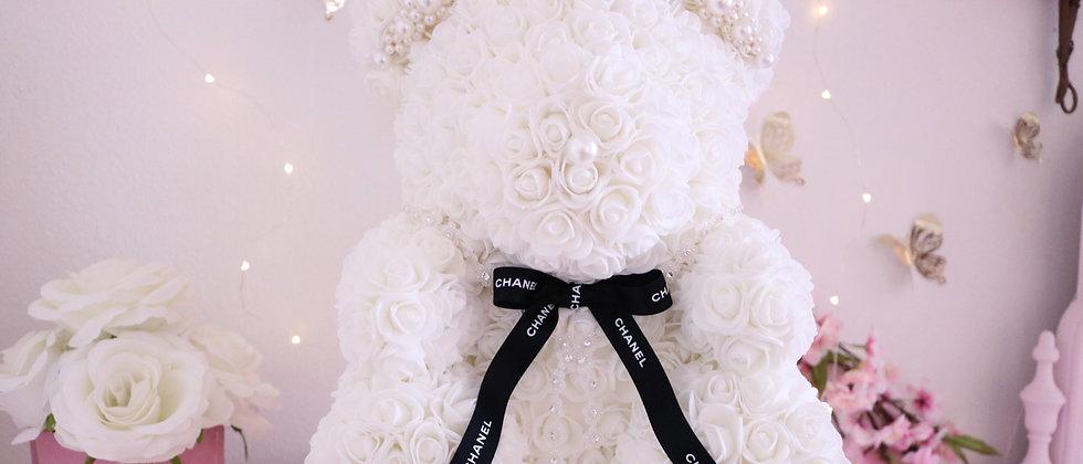 "15"" White Rose Bear"