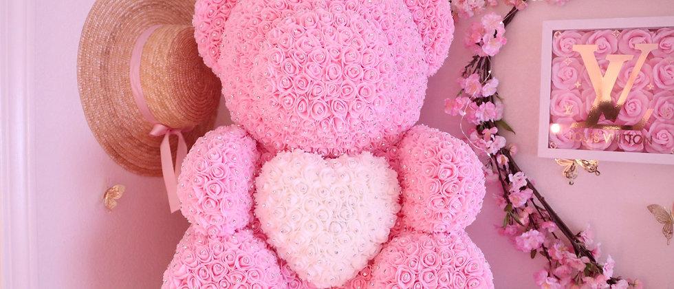 "25"" Giant Light Pink Rose Bear with Rhinestones"
