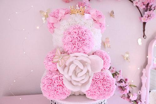 """15"""" Baby Pink Rose Bear"""