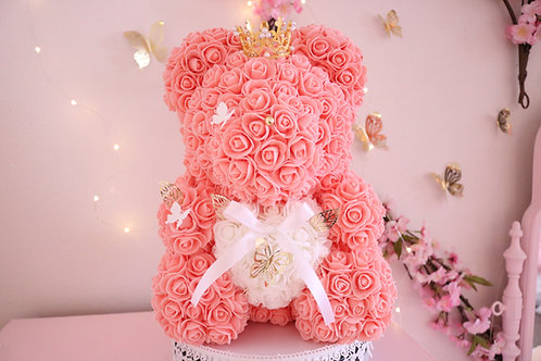 """15"""" Coral Rose Bear"""