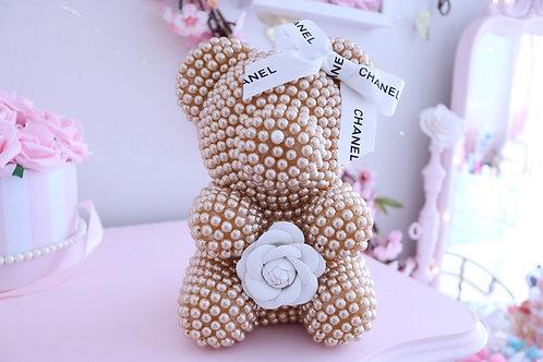 "8 1/2"" Champagne Chanel mini Pearl Bear"