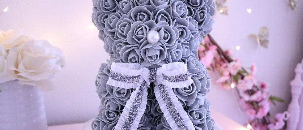 """10"""" Mini Gray Rose Bear"""