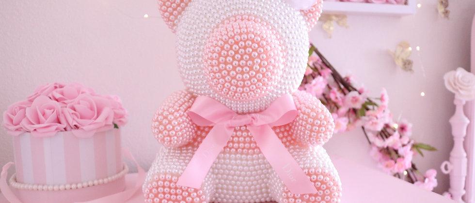 "13"" Deluxe light Pink & White pear bear"