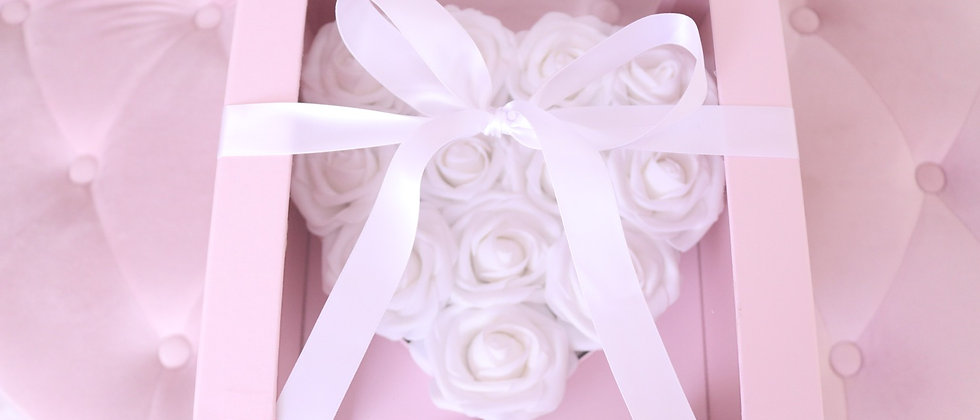 Rose Heart Box White