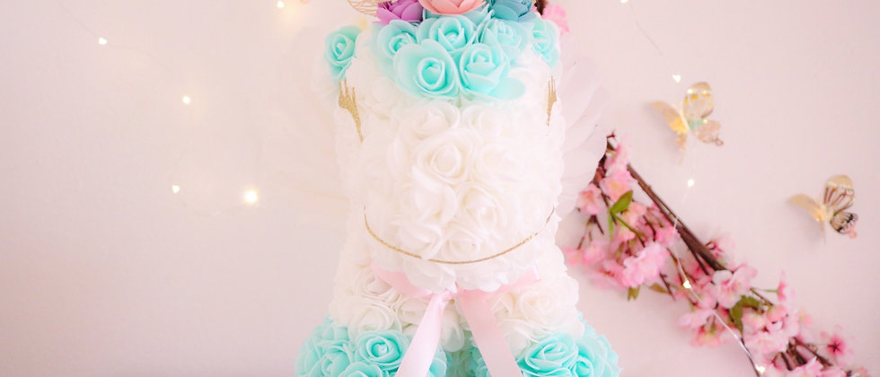 """13"""" White and Teal Rose Unicorn"""
