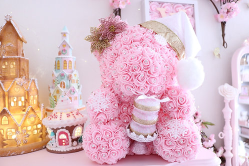 "15"" Light Pink CHRISTmas Rose Bear"