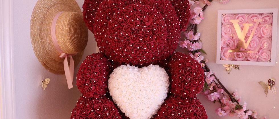 """25"""" Giant Burgundy Rose Bear"""
