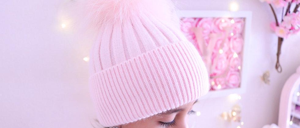 Kids Light Pink Pompom hat