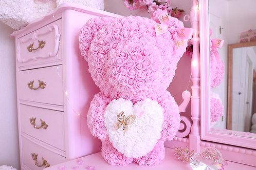 """20"""" Light Pink Standing Rose Bear"""