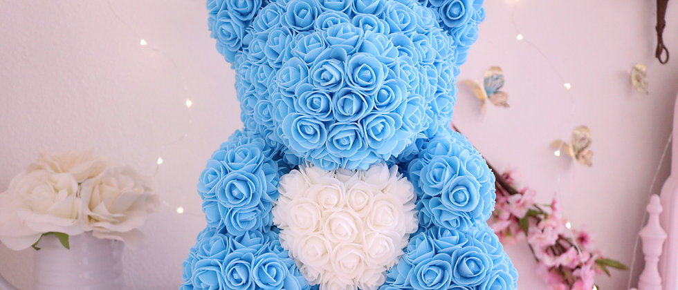 "15"" Blue Rose Bear"