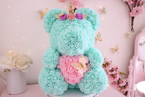 "15"" Mint Rose Unicorn Bear"