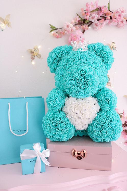 "15"" Tiffany Blue Rose Bear"