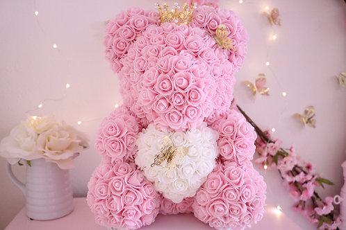 "15"" Pink Rose Bear with gold butterflies"