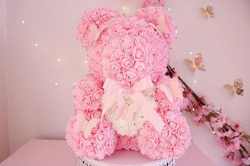 """15"""" Pink Butterflies Rose Bear"""