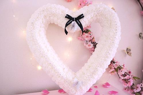"""21"""" White Rose Heart"""
