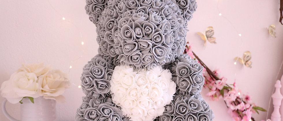 "15"" Gray Rose Bear"