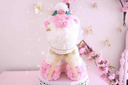 "13"" White and Baby Pink Rose Unicorn"