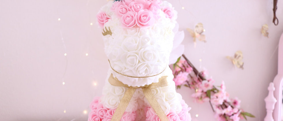 "13"" White and Baby Pink Rose Unicorn"