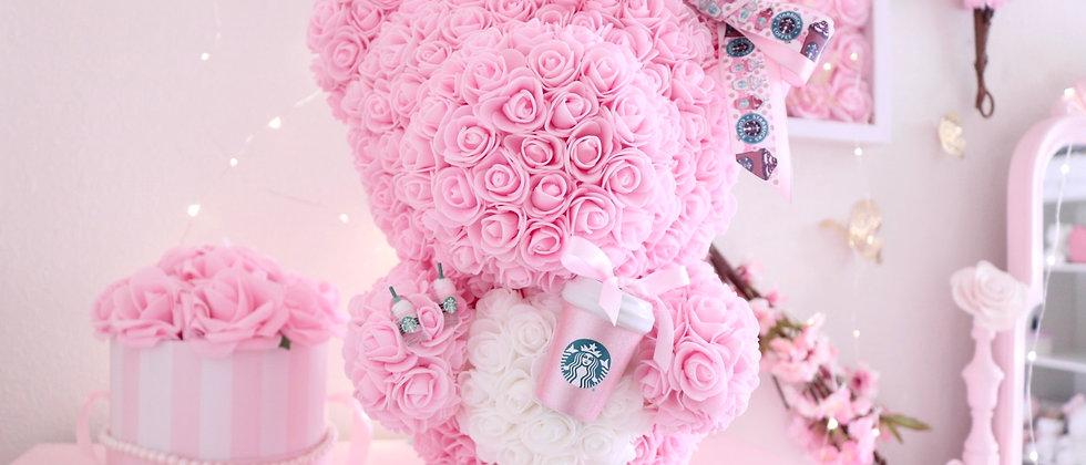 "16"" Light Pink Standing Sts Rose Bear"