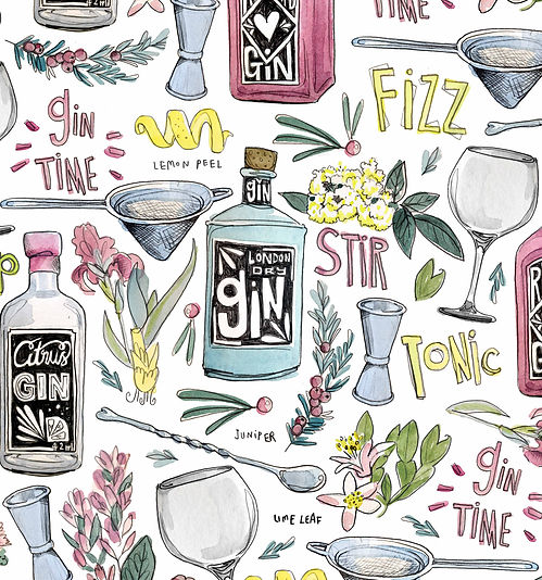 food and drink gin botanicals surface pattern design