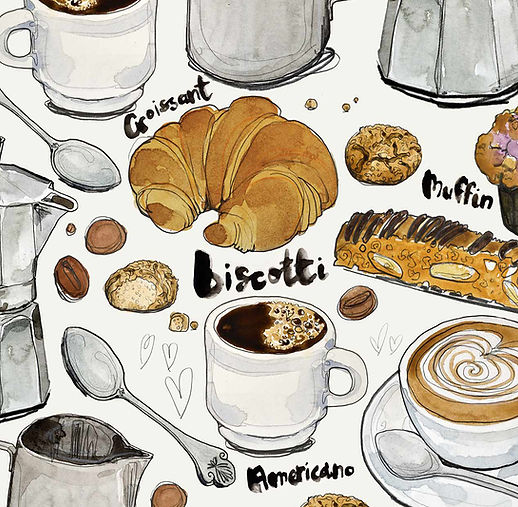 watercolour coffee illustration croissant