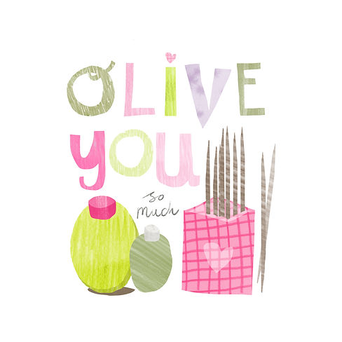 olive you valentines greetings card design