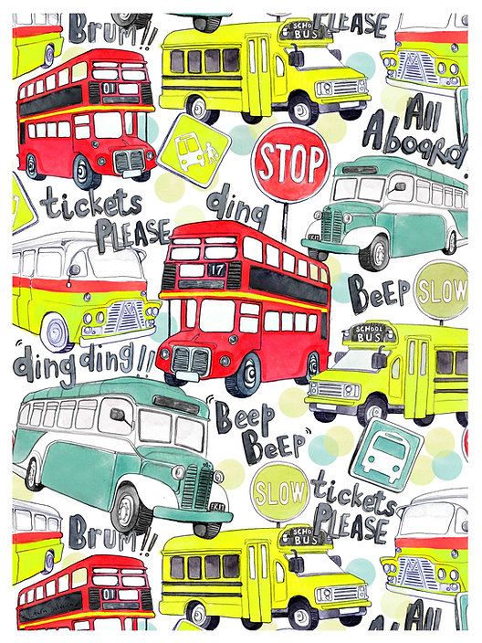 childrens repeat pattern buses surface pattern design