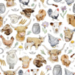 Surface Pattern Design Laura Silveira Happy Hens & Highlands Cow Design Illustration