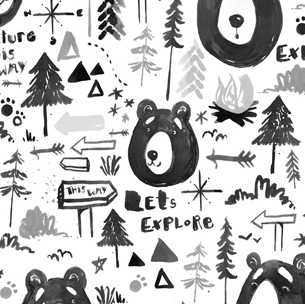 surface pattern design tweenage  laura silveira bear wilderness adventure