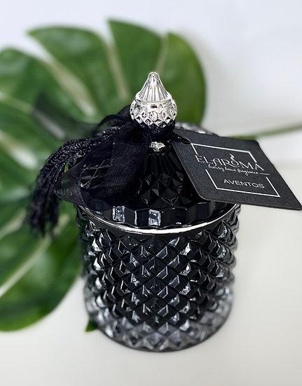 Black Vintage Geo Candle Jar