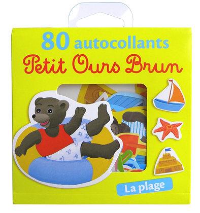 80 Autocollants Petit Ours Brun - La Plage  - Danièle Bour