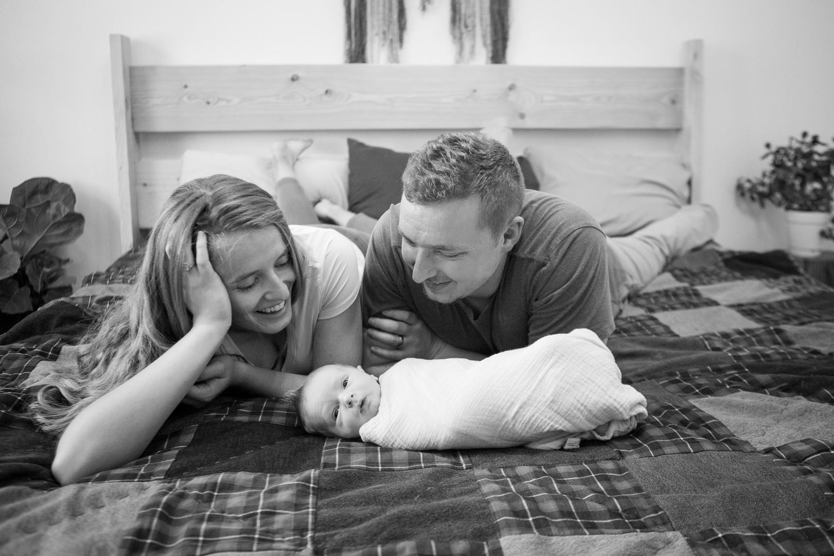 Lifestyle newborn family portrait