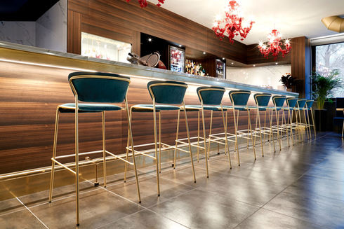 Blue Bar Stools in Restaurant