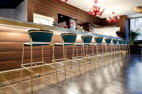 Blue Bar Stools in Restaurant