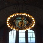 An intricate chandelier inside Grand Central Library.