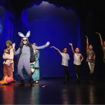 "Donkey (Lynn Selkin) sings with backup dancers (Brianna Arias, Cassandra Frias, Abigail Segura, Marin Hernandez) Come on Shrek, ""make a move"" on Princess Fiona"