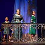 Young Fiona (Azucena Ortega), Teen Fiona (Brianna Arias), and Adult Fiona (Adriana Ortega) sing of true love in the dragon guarded tower.