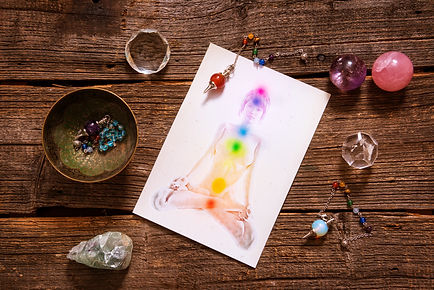 Chakras illustrated over human body with
