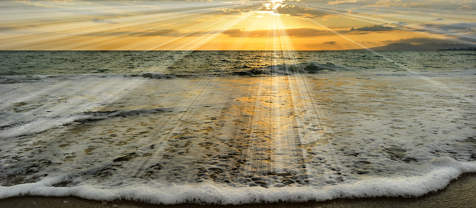 Ocean sunset rays is an ethereal ocean s