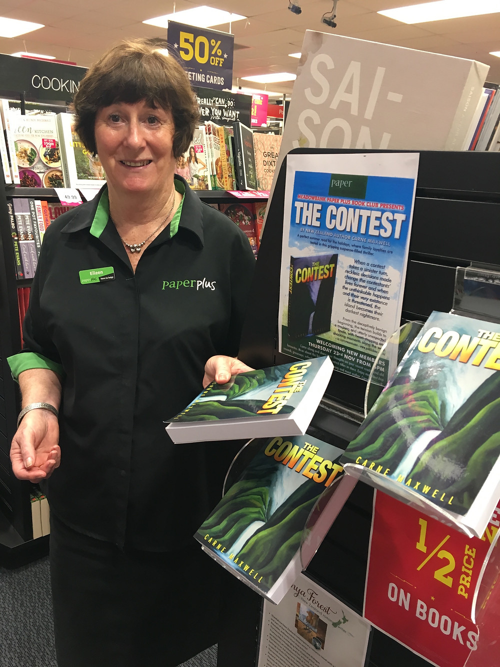 Thanks to Eileen from Paper Plus Meadowbank for finishing my book and giving it the thumbs up. Eileen's waiting for a prequel and a sequel so ...
