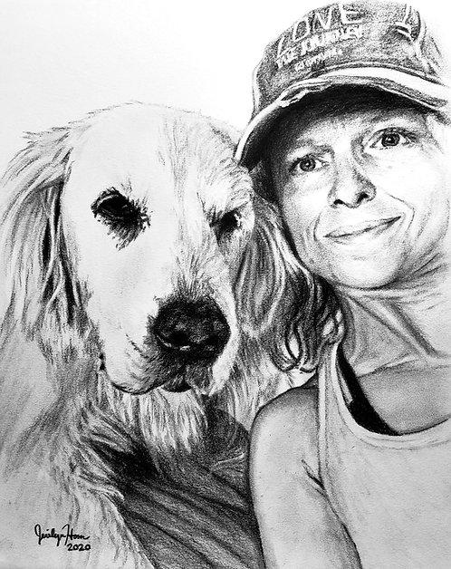 Custom Person with Pet Portrait