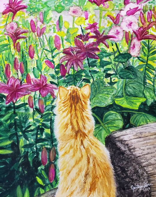 Yellow Cat and Flowers