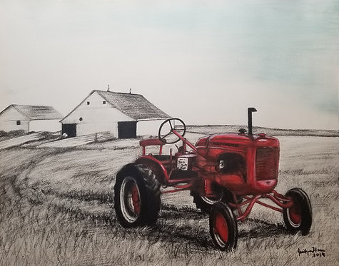 Farm and Tractor in Charcoal and Acrylic