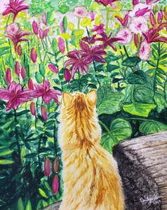 Yellow Cat with Flowers