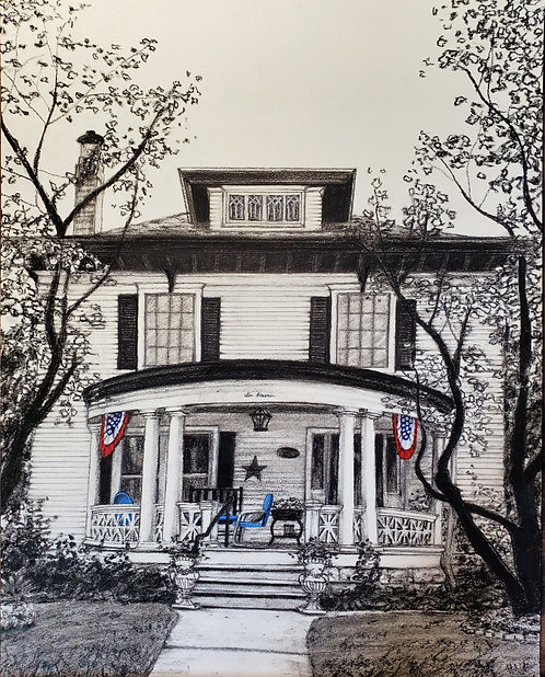 Home Exterior in Charcoal and Acrylic