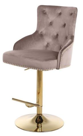 Claude Velvet Adjustable Stool Pink Gold
