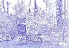 Frau mit Buch im Garten
