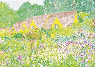 Gelbe Häuser im Garten