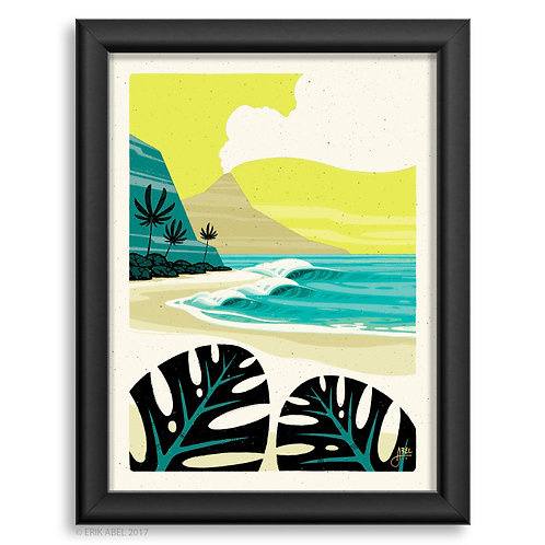 tropical surfing bay
