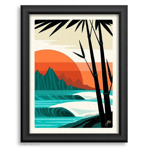 Surfing waves blue lagoon